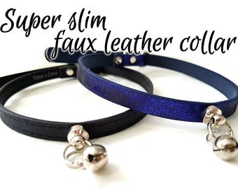 Super Slim Faux/Vegan Leather [Made to Order] Simple Black/Blue Synthetic Punk Goth Alt Kitten/Pet Play DDLG BDSM Collar