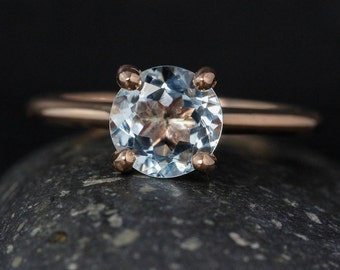 Rose Gold Blue Aquamarine Solitaire Ring - March Birthstone Ring - Something Blue