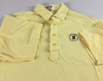 US Open Polo Shirt 1988 Golf Mens L/XL LA Mode Yellow 80s The Country Club