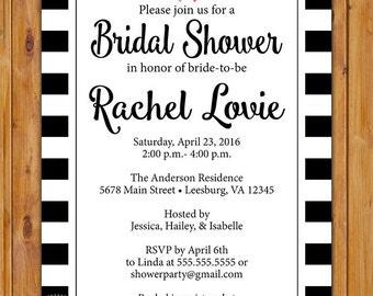 Black White Bridal Shower Invite Hens Party Stripes Printable Invitation 5x7 Digital JPG file (249)