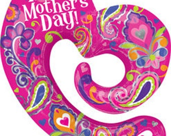 30 Inch Mother's Day Swirly Open Heart  Balloon