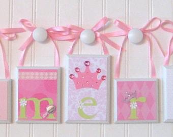 Name Blocks . ROUTED EDGE . Nursery Name Blocks . Nursery Decor . Baby Name Blocks . Wood Name Blocks . M2M Princess . Pink White Green