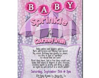 Baby girl Sprinkle Invitation, Baby Girl Shower Invitation,  Girl Sprinkle Invitation,  Baby Sprinkle Invitation Girl, Digital Invitation