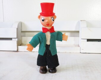 Vintage Kitsch Christmas Noel Japan Christmas Caroler Rubber Boy with Top Hat