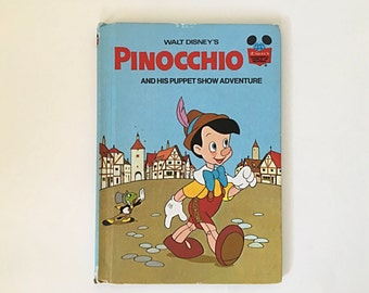 Walt Disney's Pinocchio and His Puppet Show Adventure, Disney's Wonderful World of Reading Book Club Edition, 1973 Random House Children