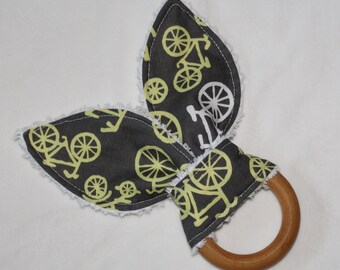 Yellow Bicycles Rabbit Ears Wooden Teething Ring