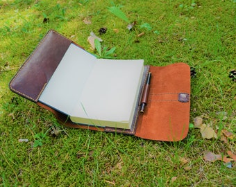 Refillable Book Cover, Handmade Leather Cover, Leather Book Cover, Leather Journal Cover