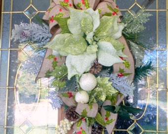 Poinsettia Door Swag - Christmas Wreath - Christmas door swag - Sage Green Wreath - Holiday Door Decorations - Home Decor - Holiday Crescent