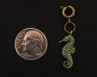 Seahorse Charm OX Brass / Turq Patina Bracelet Charms Necklace Earring Charm DIY Jewelry or Craft Supplies
