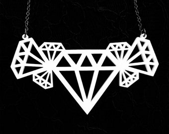 Geometric Diamond Cluster Necklace - Laser Cut Acrylic (C.A.B. Fayre Original Design)