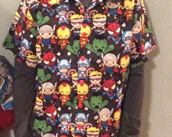 boys avengers button down collared shirt size 3 months- 10 years