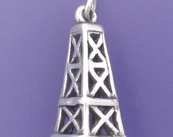 OIL DERRICK Charm .925 Sterling Silver, Oil Well, Rig, Texas Pendant - sc836