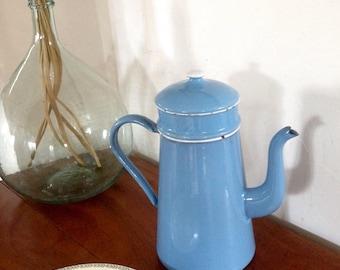 Vintage french table art, blue enamel coffee pot