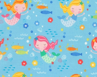 Mermaids Under The Sea - Sky-Timeless Treasures -Mermaid-Cotton Fabric- Quilt- Apparel-WindyRobinCotton- *Sold in Half Yard.