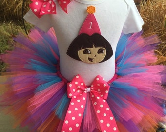 QUICK SHIP *Sale* Dora Birthday Party Tutu Outfit Dress Set Handmade in a size 12-18 mo