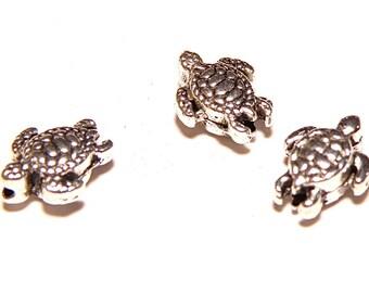 Twelve (12) Tiny Sea Turtle Pewter Spacer Beads