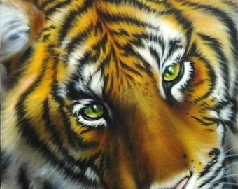 Beautiful Tiger Airbrushing on canvas!