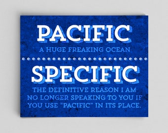 Pacific Specific Usage Grammar Poster Typographic Print Geeky English Gifts Teacher Gifts for Teachers Gag Gifts Gag Gift Office Decor