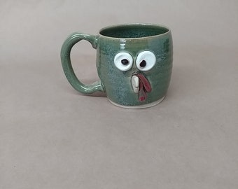 Turkey Mug. Microwave Dishwasher Safe Stoneware Teacup. UgChugs by Nelson Studio. Speckled Green Cup. Great Mother's Day Gift.