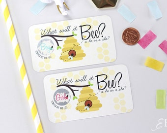 10 Baby Gender Reveal Scratch Off Cards - What Will It Bee?