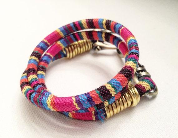 Multi Colored Cotton & Gold Wrap Bracelet