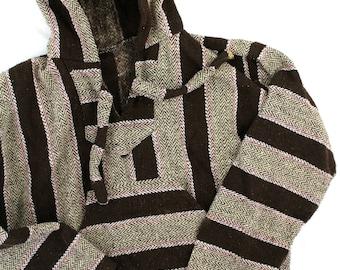 Poncho sz M Brown and Grey Striped Hooded Kangaroo Pocket