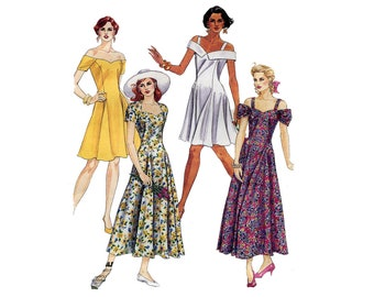 Princess Halter Dress Pattern Fit and Flare Off Shoulder Sweetheart Short Sleeves McCalls 5999 Bust 34 36 38 Vintage Sewing Pattern