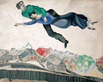 Over the Town by Marc Chagall Home Decor Wall Decor Giclee Art Print Poster A4 A3 A2 Large Print FLAT RATE SHIPPING