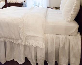 Full Size Ruffled Linen Bed Skirt/Dust Ruffle
