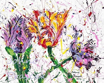 Parrot Tulips, Tulips, Tulip wall art, Tulip print, Spring flowers, Pittsburgh artist, by Johno Prascak, Johnos Art Studio