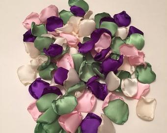 Purple Rose Petals/Purple Wedding Decor/Flower Girl Petals/Purple Petals/Green Wedding Decor/Country Wedding/Throw Petals/Green Petals
