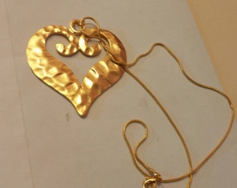 Large 22' Hammered Gold Plate Heart Hanging in 18' gold plated snake chain .