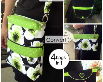 Sewing Pattern: Digital, Convertible Reversible Bag, expandable, 4-in-1, evening bag, crossover, small bag, handbag, clutch, purse,