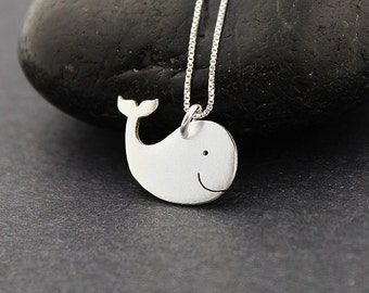 whale necklace  sterling silver cute happy necklace whale pendant comes with Italian box chain
