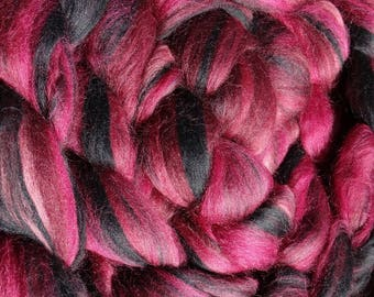 4 oz Black Magic Rose Custom Blend - 100% Merino to Spin, Felt, Create Fiber Art - Burgundy, Wine, Black, Charcoal