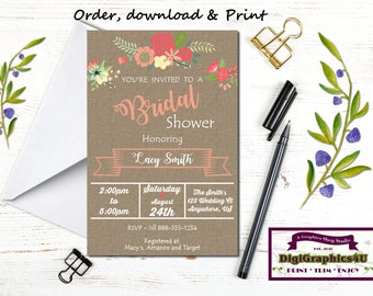 Wedding or Rustic Garden Bridal Shower, Luncheon Invitation - Printable File - Customized for You