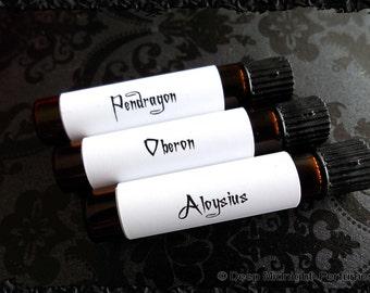 The Gentlemen's Perfume Sample Set: Set of 3 vials, Valentine's Day, Gothic Perfume, Mens Fragrance