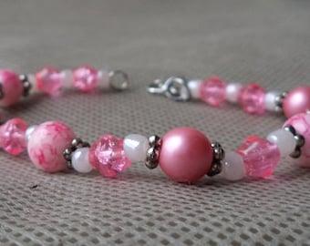 Bracelets for women, Beaded gift for her, Mother's day gift ,Gift under 10 , Pink  bracelet , Hand made, Beaded Jewelry , Beaded  bracelet