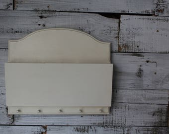 Mail Organizer / Painted Three Compartment Mail Organizer / Wooden Mail Organizer / Wall Mail Organizer / Farmhouse Kitchen Mail Storage
