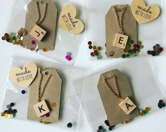 Scrabble Tile Initial Letter Personalised Necklace christmas gift