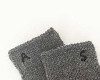 The Name First Letter, Men Gift Gloves, Hand Knit Fingerless Gloves. Custom Order Colored, Dark Gray, Arm Warmers, Winter Accessories Gift