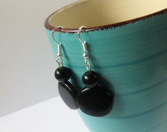 Black Drop Earrings Simple, Small Black Earrings Jewelry, Black Dangle Earrings Black, Classic Black Earrings, Black Drop Earrings Silver