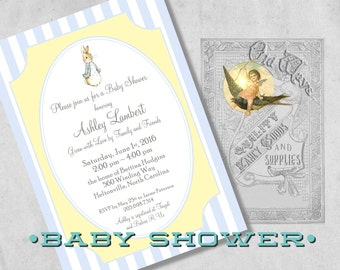 Peter Rabbit Baby Shower Invitations for a Boy - Blue and Yellow Vintage Storybook Baby Shower - Printed Baby Boy Shower Invitation