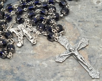 Czech Glass Rosary of Cobalt Blue Cathedral Beads, Our Lady of Grace, Marian Rosary, 5 Decade Rosary, Catholic Rosary