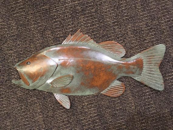 Largemouth Bass Metal Handmade Wall  Sculpture 24in Lodge Cottage Cabin Lake
