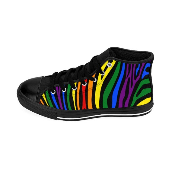 Sizing Pride Lesbian Gay Mosaic Lgbt Rainbow Hightop Gay Bisexual Flag Womens Pride Transgender Queer Sneakers Zebra xYqqT7dwv