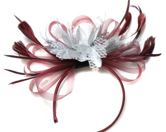 Burgundy Wine Red & Silver Fascinator on Headband