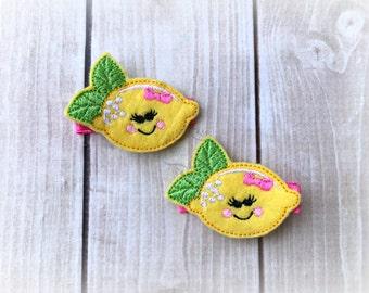 Lemon hair clip Fruit hair clip Citrus hair clip Cutie Clip. Pick Left side or Right.