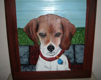 Beagle pet portrait custom order