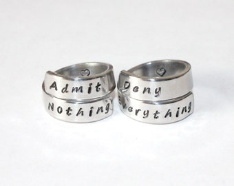 Admit Nothing, Deny Everything Ring Set, Quote Ring, Advice Ring